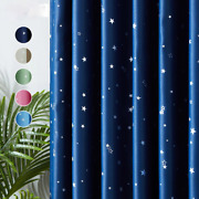 Blackout Curtain For Kids Room Bedroom Modern Lucky Star Window Treatment Drapes