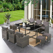 Pe Wicker Rattan Dining Furniture Sets Glass Table With Cushions And Ottoman 11pcs