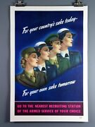 Ww Ii Original Vintage Poster 1944 Womens Recruitment For Your Countrys Sake..