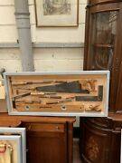 Antique Woodworking Tools Framed Man-cave Themed Pub Interior Design 42 X 19 In