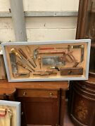 Antique Woodworking Tools Framed Man-cave Themed Pub Interior Design 35 X 17 In