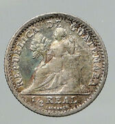 1895 Guatemala Bird On Pillar Old Antique Genuine Silver 1/2 Real Coin I93081