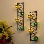 Wall Hanging Twisted Petals Tea Light Candle Diya Holders, Set Of 2, Green And Y