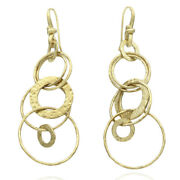 Hammered Circle Dangle Earrings In 18k Yellow Gold