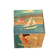 Hand Painted Puzzle Cube Wood Landscapes Vintage Sailboat Sky Trees Church Rare