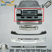 New Front Chrome Bumper + Grille + Upper And Low Cover For 2005-07 Ford F250 F350