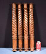 Set Of Four 25 French Antique Solid Walnut Posts/pillars/columns Salvage