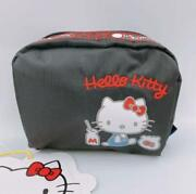 Hello Kitty Lesportsac 45th Anniversary Square Cosmetic Bag Makeup Pouch Black