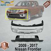 Front Chrome Bumper + Upper Cover + Lower Valance For 2009-2017 Nissan Frontier