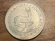 T2 South Africa Silver 5 Shillings 1957 Km52 Uncirculated.