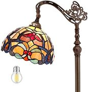 Style Reading Floor Lamp Antique Stained Glass Crystal With Stand