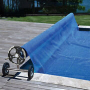 Heavy Duty Solar Pool Cover Reel Set For Swimming Pools Up To 18ft Wide Inground