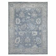 9and039x11and0399 Angora Oushak Soft And Supple Wool Floral Motifs Hand Knotted Rug R67983