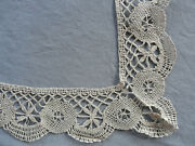 French Antique Edging Tablecloth Table Runner Bobbin Lace Handmade Linen Le Puy