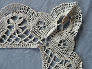 French Antique Edging Tablecloth Table Runner Handmade Bobbin Lace Linen Le Puy