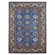 8and0399x12and039 Hand Knotted Pure Wool Super Kazak Medallion All Over Design Rug R67996