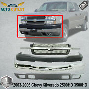 Front Chrome Bumper Up And Lw Cover+grille For 03-06 Chevy Silverado 2500hd 3500hd