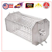 Universal Rotating Basket Rotisserie Grill Spit Rod Basket Fits For Any Grill