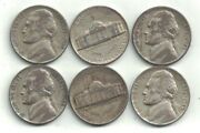 Six 1945-p Silver Jefferson Nickels In Circulated Condition At Near Melt Value