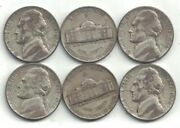 Six 1944-p Silver Jefferson Nickels In Circulated Condition At Near Melt Value