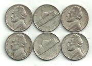Six 1943-s Silver Jefferson Nickels In Circulated Condition At Near Melt Value