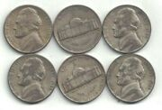 Six 1945-d Silver Jefferson Nickels In Circulated Condition At Near Melt Value