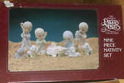 Precious Moments Nativity 9 Piece Set. New Painted Pewter 1989 692794