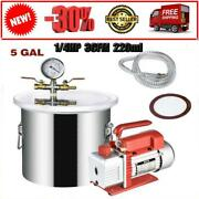 5gallon 1/4hp 3cfm 220ml Vacuum Chamber Degassing Silicone Single Stage Pump Air