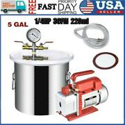 5gallon 1/4hp 220ml 3cfm Vacuum Chamber Degassing Silicone Single Stage Pump Air