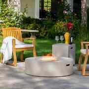 Santos Circular Propane Fire Pit Table With Tank Holder By