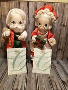 Lot Of 2 Precious Moments Classic Dolls 16 1998 Santa Claus And Mrs. Claus