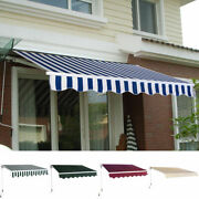 Manual Patio 8.2'×6.5' Retractable Deck Awning Sunshade Shelter Canopy Outdoor