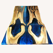 Blue Epoxy Table Wooden Walnut Conference Epoxy Din Top Furniture Made To Order