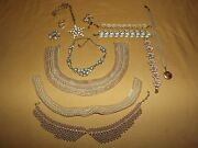 Vintage Costume Fashion Jewelry 3 Pearl Collars Enamel Bracelets Necklaces Pins