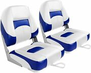 Leader Accessories New Low Back Folding Boat Seat White/blue2 Seats