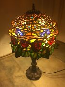 Rare Vintage Leviton Stained Glass Table Lamp, Large