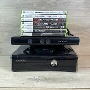 Xbox 360 S Slim Model 1439 250gb W/ Power Kinect 7 Games | Tested