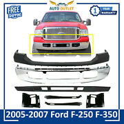 Front Bumper Chrome Steel +upper+valance And Brackets For 2005-07 Ford F-250 F-350