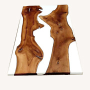 White Resin River Table Top Wooden Walnut Epoxy Table Decorative Made To Order