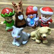 6x Fisher Little People Advent Christmas Santa Claus And Elf And Snowman Reindeer