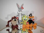 Ty Looney Tunes Beanie Baby Set Of 4,bugs,tweety,taz,anddaffy Brand New With Tags
