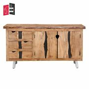 Industrial Live Edge Solid Wood 3 Drawer Sideboard With 2 Shelf Made To Order