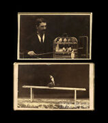 Two Rare Sideshow Circus Cdv Photos - Performing Birds And Trainer By Eisenmann