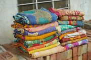 Indian Handmade Vintage Kantha Quilt Twin Size Pure Cotton Multi Color Kantha