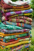 Kantha Quilts Vintage Cotton Bed Cover Throw Old Assorted Patches Made Rally