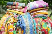 Indian Handmade Twin Cotton Kantha Quilt Throw Blanket Bedspread Boho Bed Cover