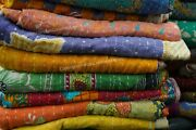 Vintage Bohemian Kantha Quilts Hippie Cotton Bedding Bedspreads Indian Floreal