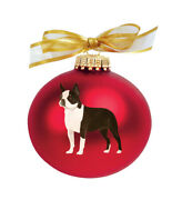 Boston Terrier Hand Painted Christmas Ornament - Name And/or Photo