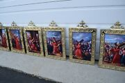 + Set Of 14 Stations Of The Cross In Brass Frames 17 1/2 Ht. X 10 1/2 W 101