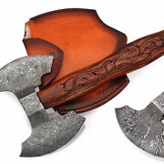 Perfect Handmade Damascus Steel Tomahawk Double Edge Axe With Engraved Handle